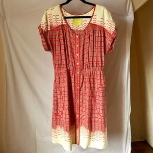 Anthropologie Maeve Orange Dress Size Medium